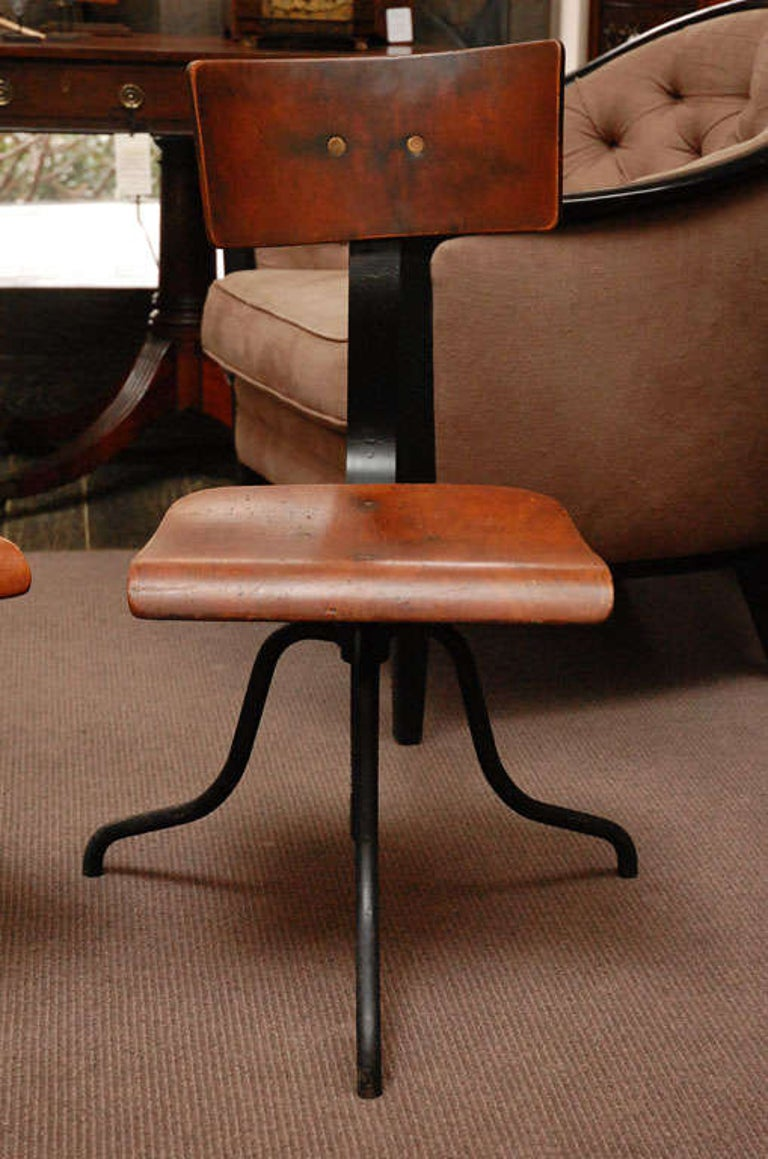 French Wood and Iron Base Swivel Desk Chairs from Late 19th Century France