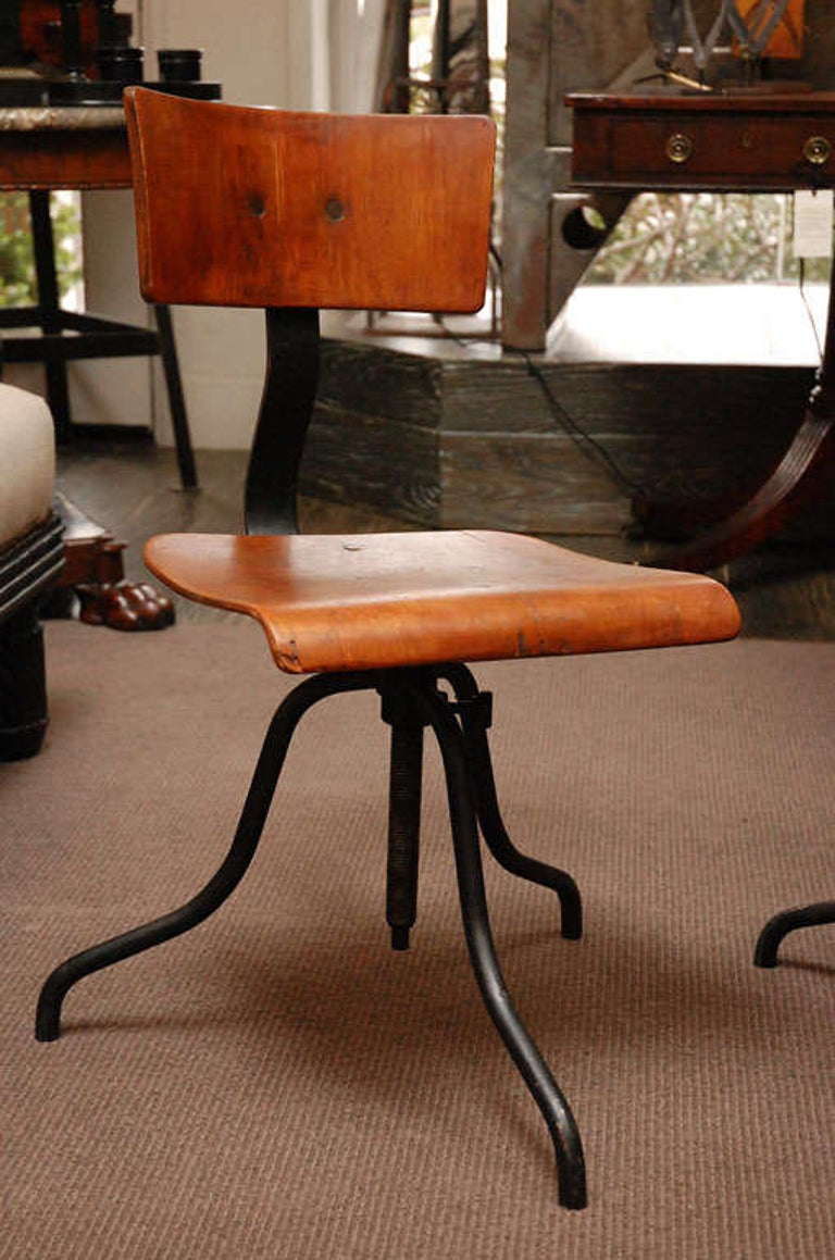 Wood and Iron Base Swivel Desk Chairs from Late 19th Century France In Good Condition In Los Angeles, CA