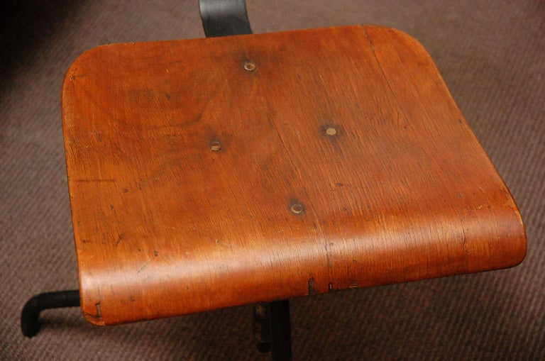 Wood and Iron Base Swivel Desk Chairs from Late 19th Century France 2