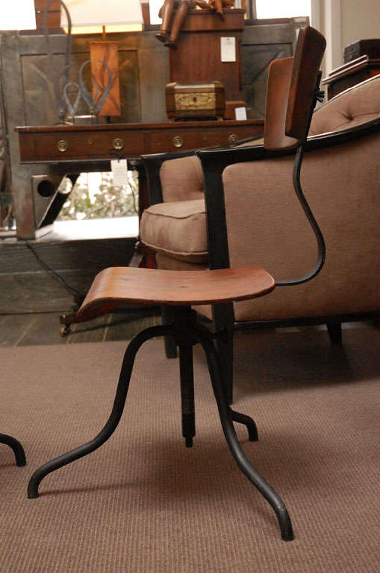 Wood and Iron Base Swivel Desk Chairs from Late 19th Century France 3