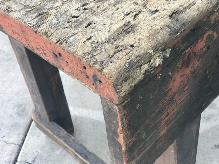 Late Victorian Late 19th Century Rustic Industrial Work Table from France For Sale