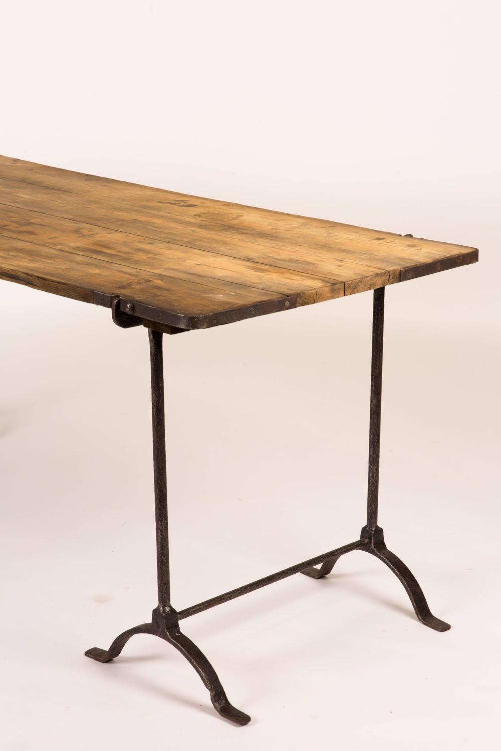 Captivating Oakwood Topped Trestle Table With Iron Legs For Sale At 1stdibs