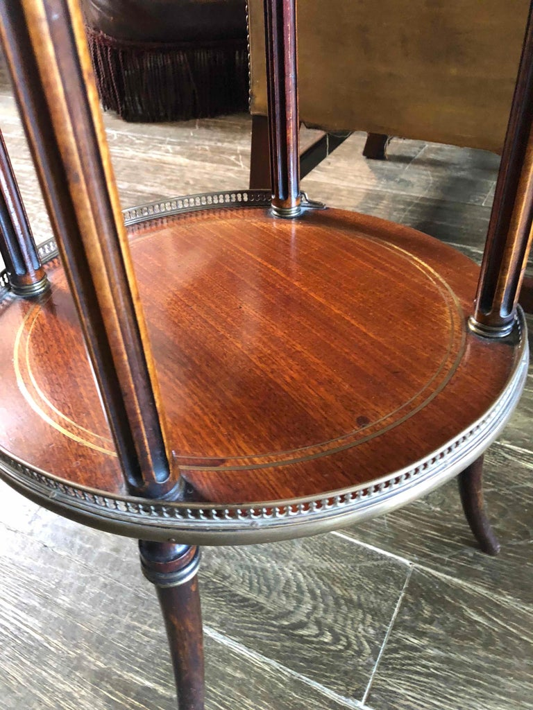 19th Century Three Tier Side Table in Mahogany with Marble Top and Brass Galley In Good Condition For Sale In Los Angeles, CA