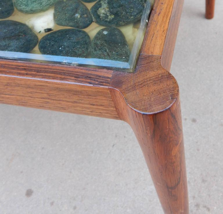 Swedish Mid-Century Modern Rosewood And River Rock Coffee
