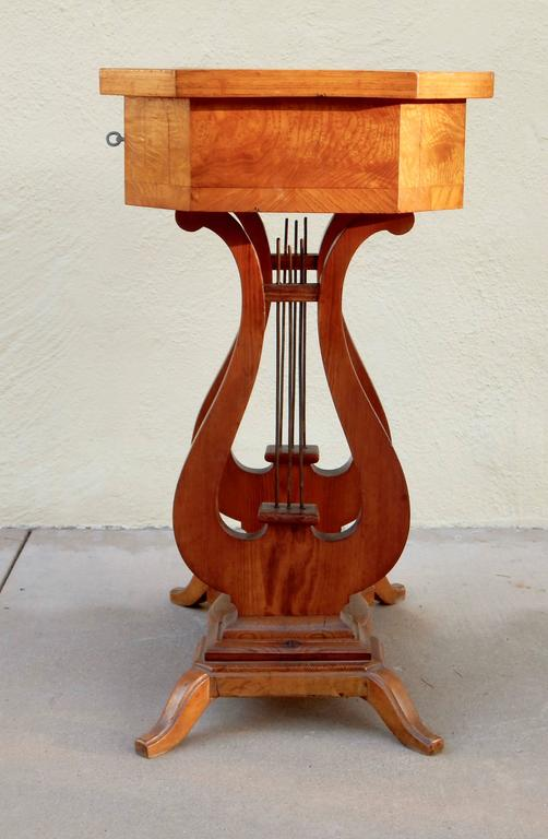 Swedish Art Deco Biedermeier Revival Lyre Table, circa 1920 For Sale 1