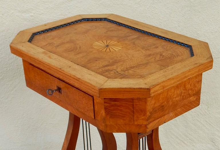 Swedish Art Deco Biedermeier Revival Lyre Table, circa 1920 In Excellent Condition For Sale In Los Angeles, CA
