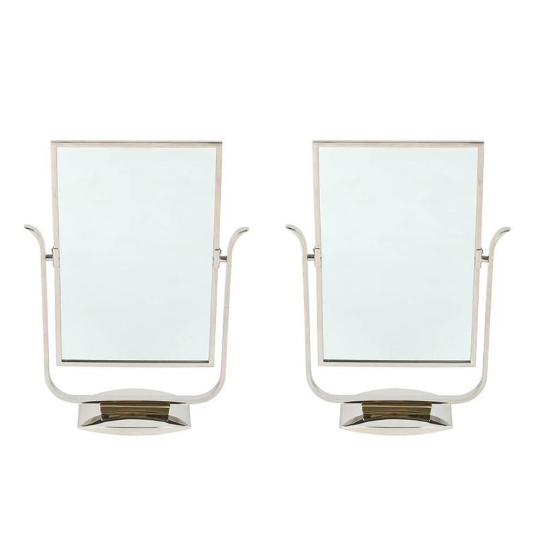 Art Deco Table Top Mirror in Chrome and Polished Brass For Sale