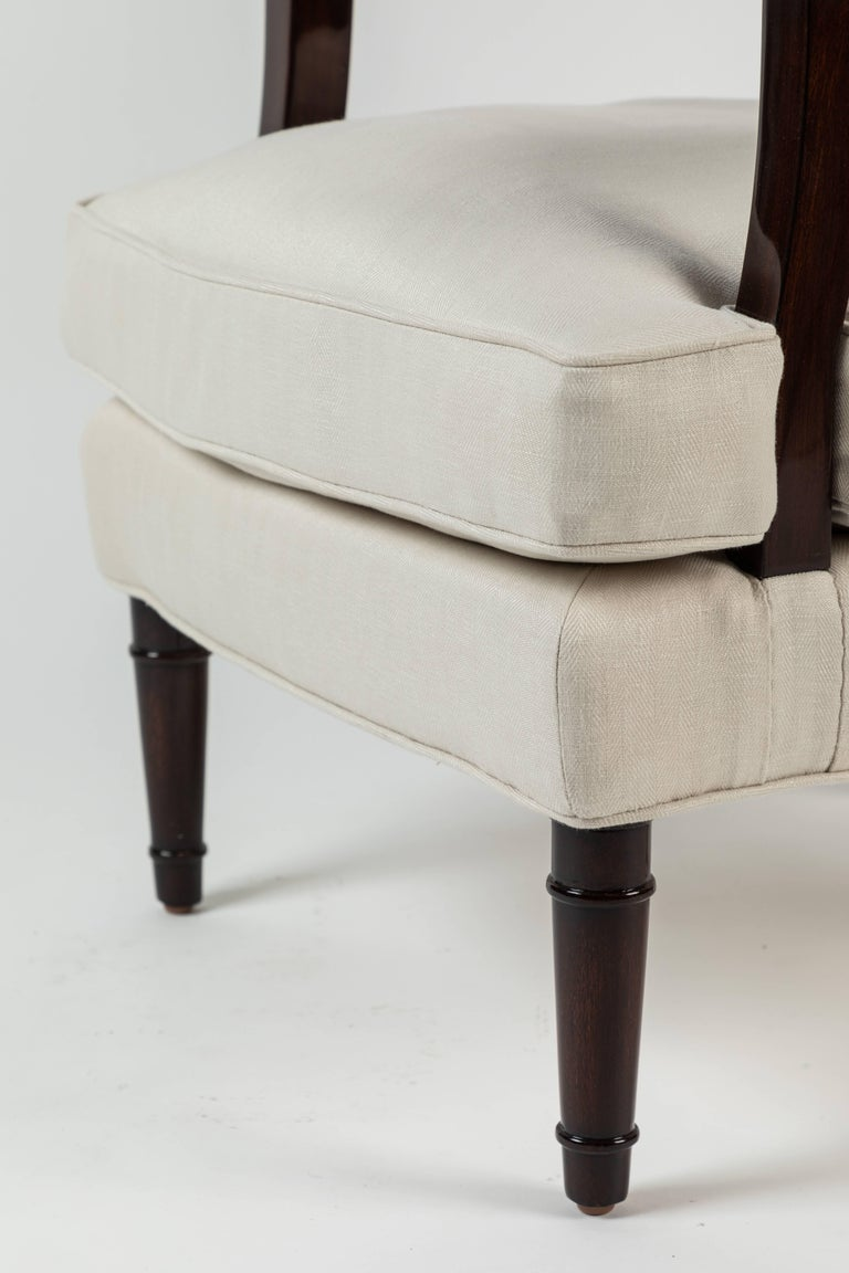French Pair of Upholstered Armchairs by Jules Leleu For Sale