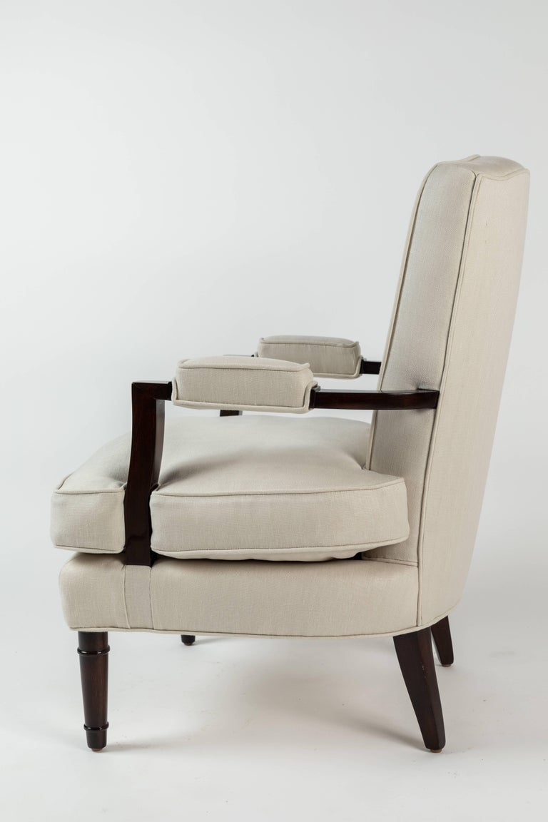 Polished Pair of Upholstered Armchairs by Jules Leleu For Sale