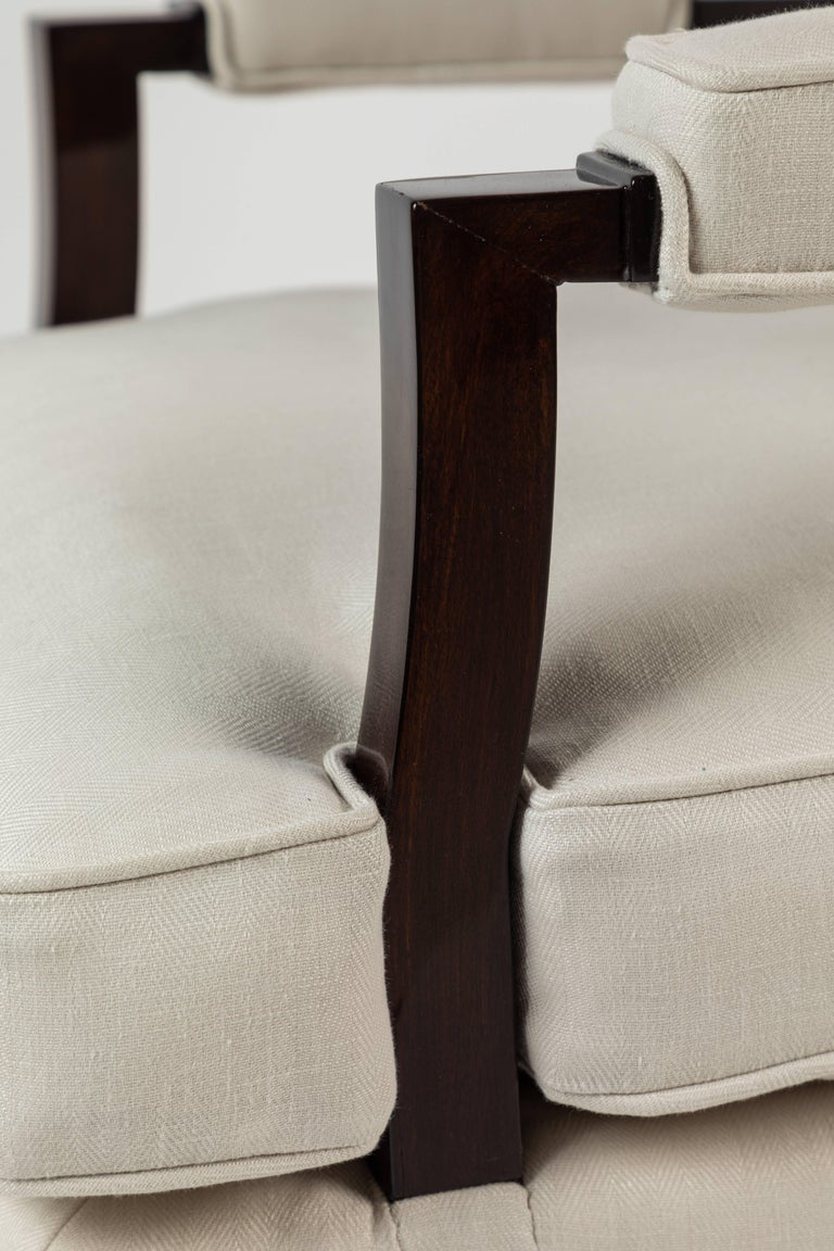 Pair of Upholstered Armchairs by Jules Leleu In Excellent Condition For Sale In Los Angeles, CA