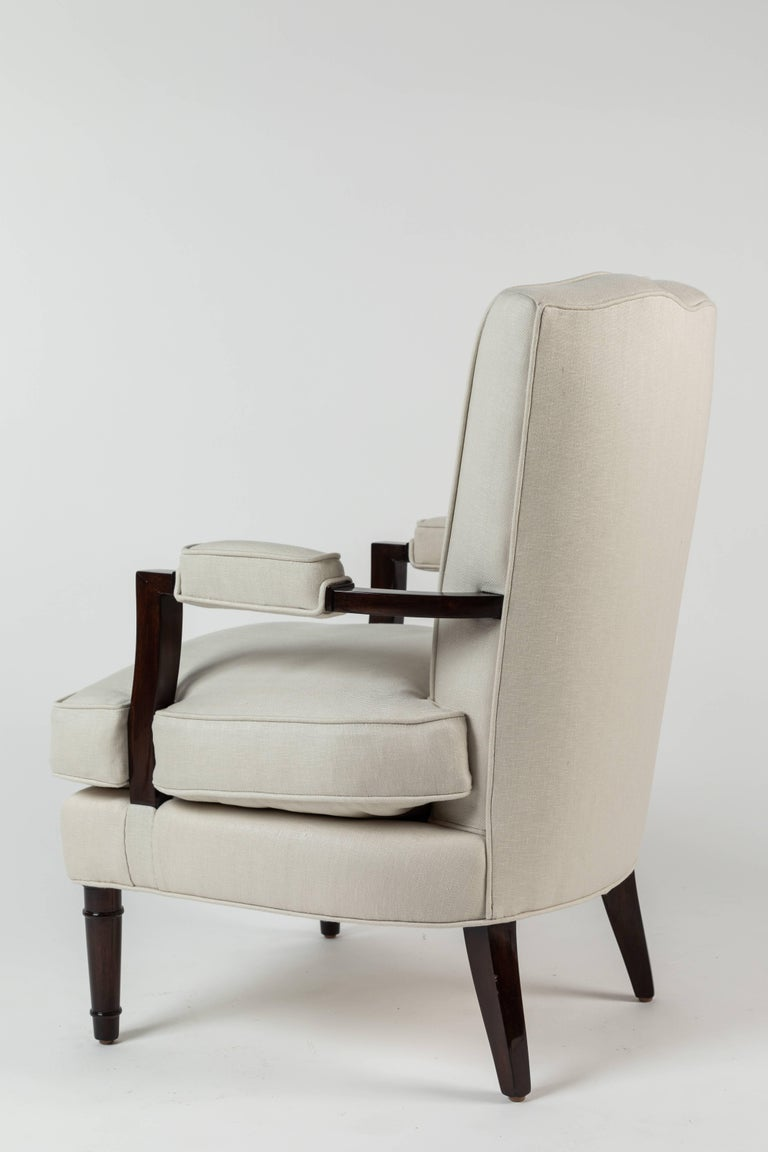 Mid-20th Century Pair of Upholstered Armchairs by Jules Leleu For Sale