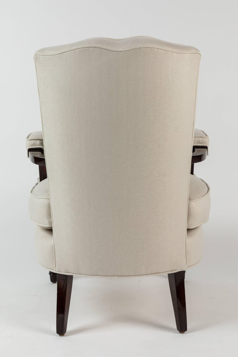 Upholstery Pair of Upholstered Armchairs by Jules Leleu For Sale