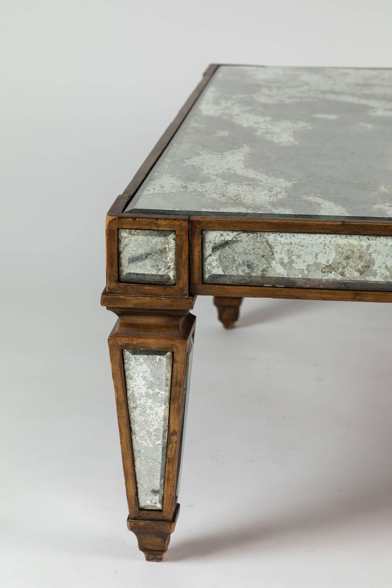 American Antique Mirrored and Gold Leafed Cocktail Table For Sale