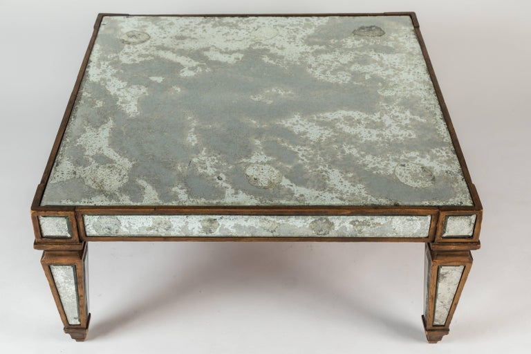 Mid-20th Century Antique Mirrored and Gold Leafed Cocktail Table For Sale