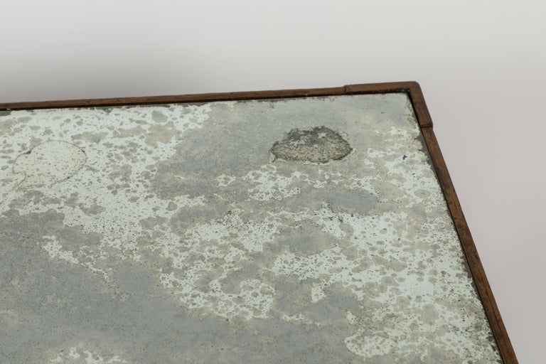 Glass Antique Mirrored and Gold Leafed Cocktail Table For Sale