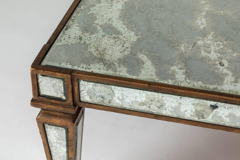 Antique Mirrored and Gold Leafed Cocktail Table For Sale 2
