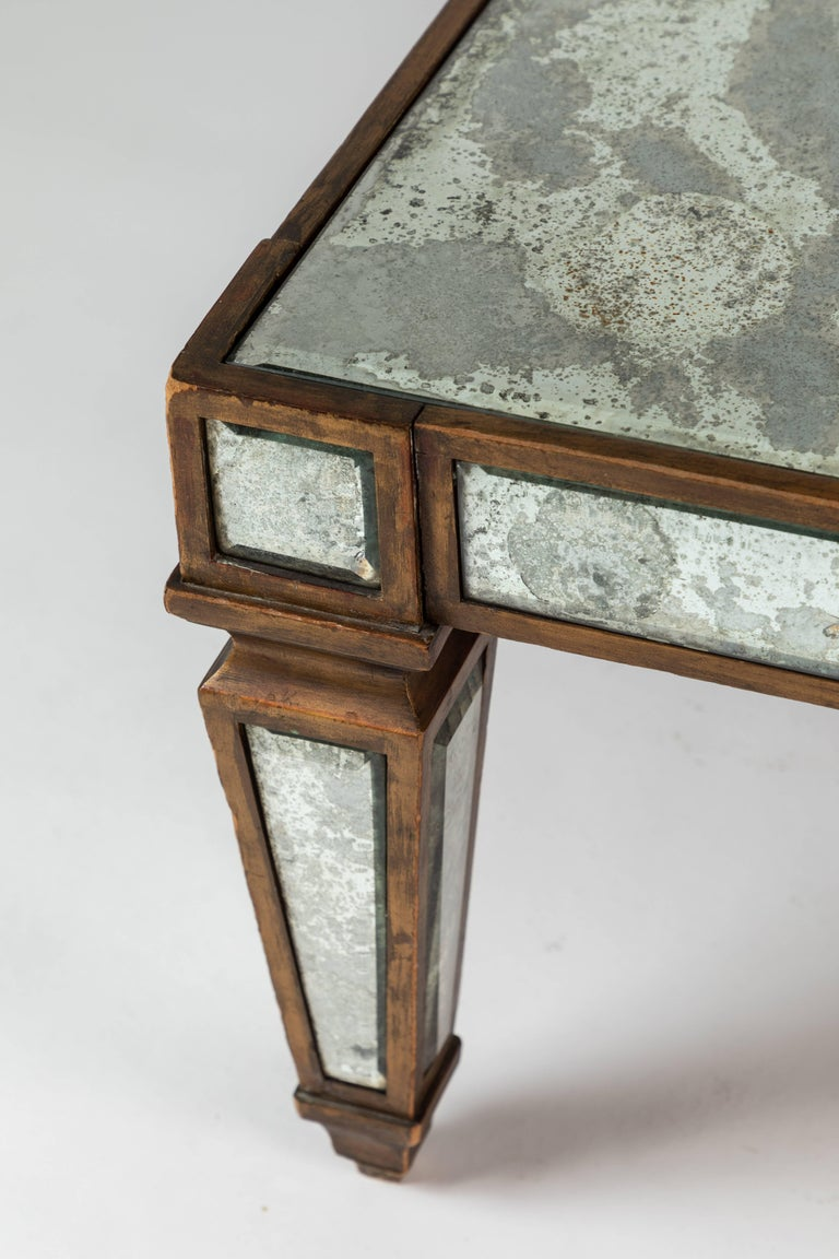 Antique Mirrored and Gold Leafed Cocktail Table For Sale 3