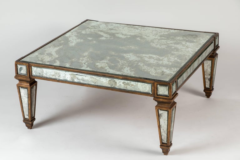 Antique Mirrored and Gold Leafed Cocktail Table For Sale 4