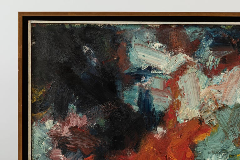 Mid-Century Modern Framed Modern Abstract Oil Painting by Stevan Kissel For Sale