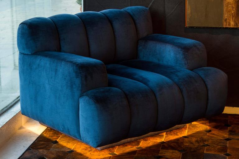 Channel Quilted Sofa and Chair by Steve Chase In Excellent Condition In Palm Desert, CA