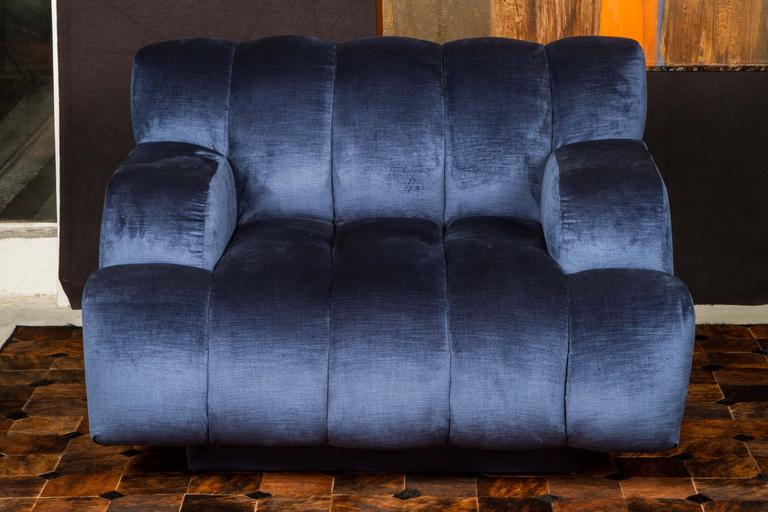 Velvet Channel Quilted Sofa and Chair by Steve Chase