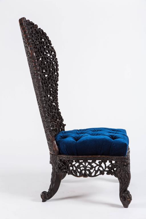 Fantastic Anglo Indian High Backed Chair. Intricately Carved Throughout  With Leaf Motif, With