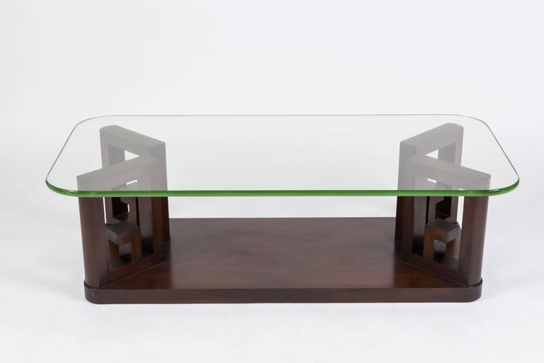 Elegant Art Deco Glass Top Cocktail Table At 1stdibs