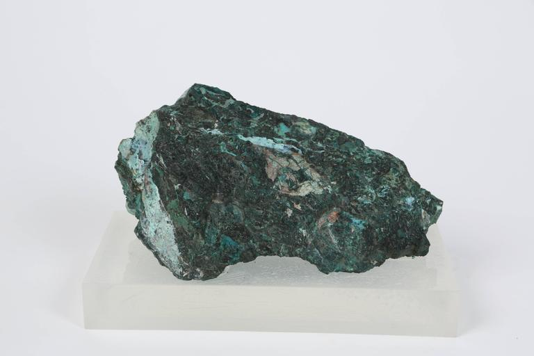 American Large Malachite Specimen on Lucite Plinth Designed by William Haines For Sale