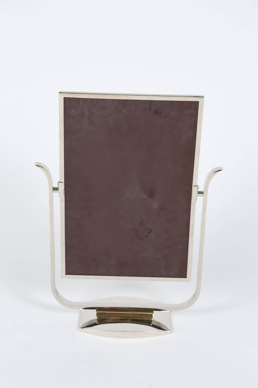 Plated Art Deco Table Top Mirror in Chrome and Polished Brass For Sale