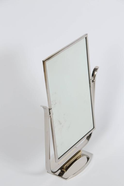 Art Deco Table Top Mirror in Chrome and Polished Brass In Excellent Condition For Sale In Los Angeles, CA
