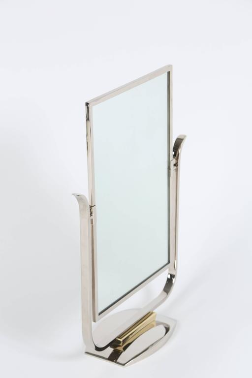 Art Deco Table Top Mirror in Chrome and Polished Brass For Sale 3