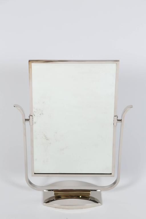 Art Deco Table Top Mirror in Chrome and Polished Brass For Sale 4