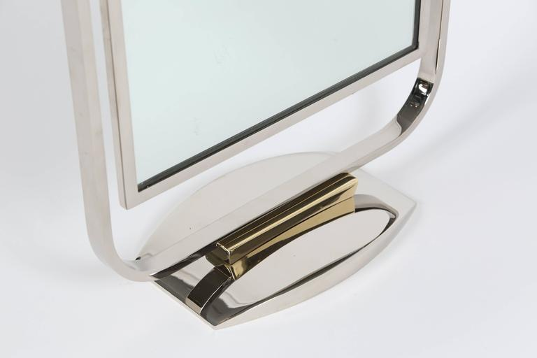 20th Century Art Deco Table Top Mirror in Chrome and Polished Brass For Sale