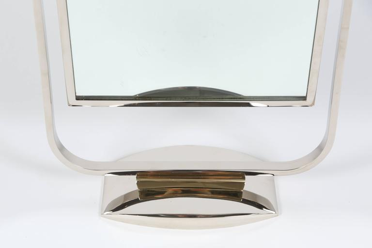 Art Deco Table Top Mirror in Chrome and Polished Brass For Sale 1