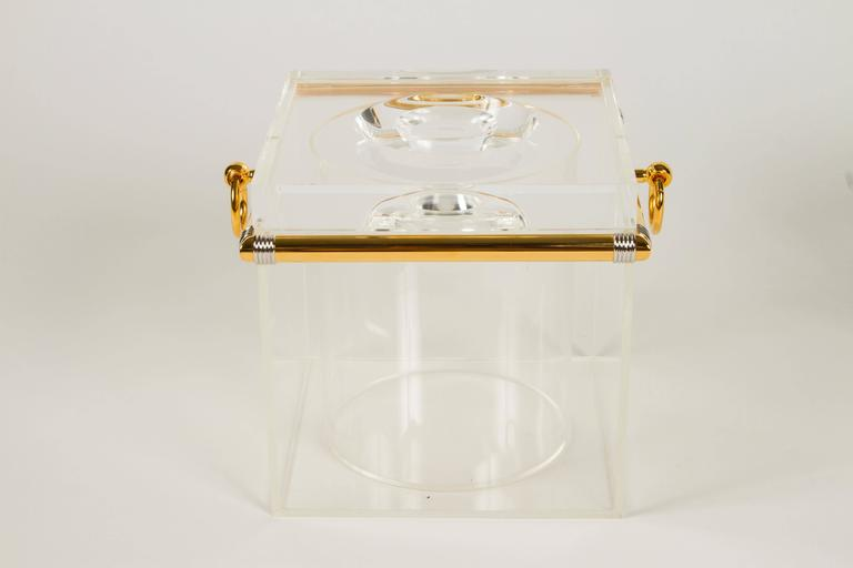 Italian Pair of Lucite Ice Buckets with Gold Plate and Silver Trim For Sale