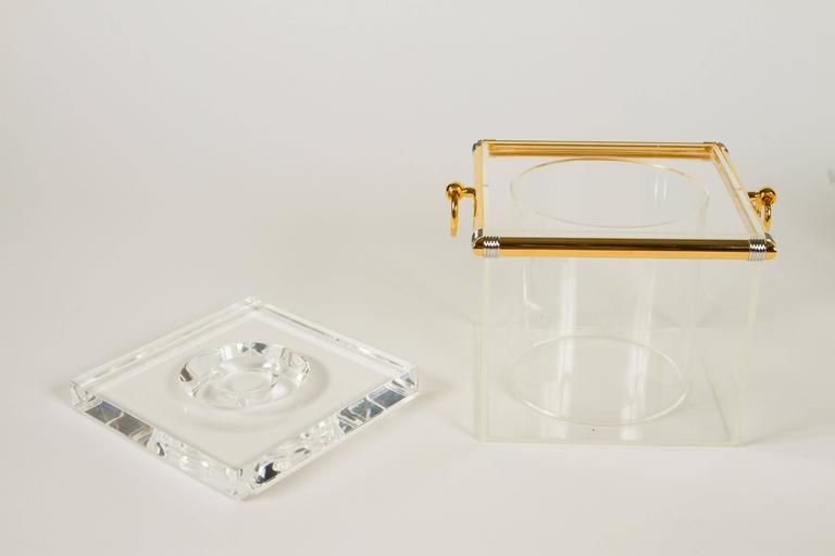 Plated Pair of Lucite Ice Buckets with Gold Plate and Silver Trim For Sale