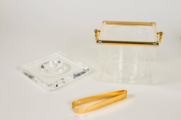 Pair of Lucite Ice Buckets with Gold Plate and Silver Trim In Good Condition For Sale In Los Angeles, CA