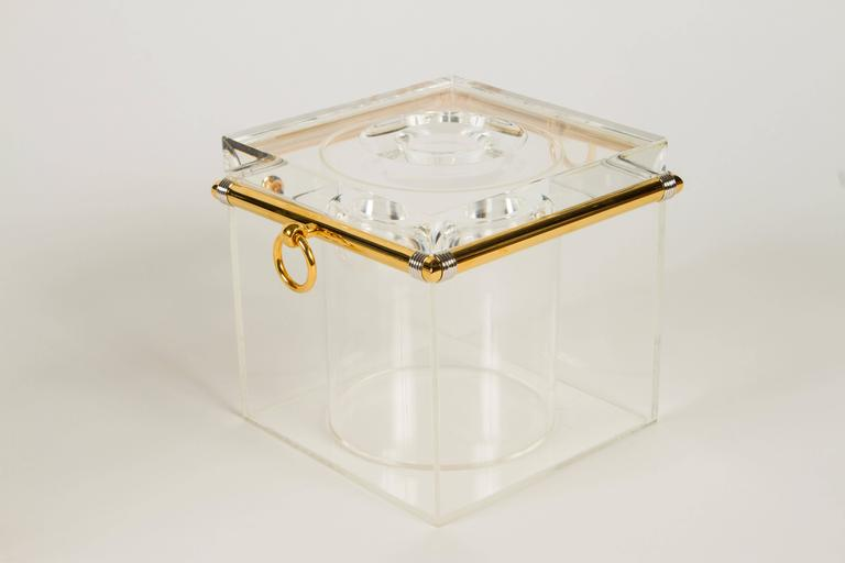 Metal Pair of Lucite Ice Buckets with Gold Plate and Silver Trim For Sale