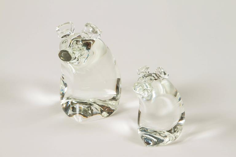 Mid-Century Modern Momma Pig and Baby Pig by Lloyd Atkins for Steuben Glass