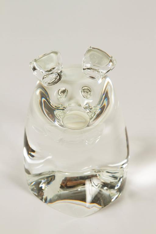 American Momma Pig and Baby Pig by Lloyd Atkins for Steuben Glass