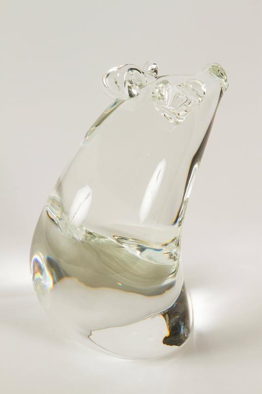 Crystal Momma Pig and Baby Pig by Lloyd Atkins for Steuben Glass