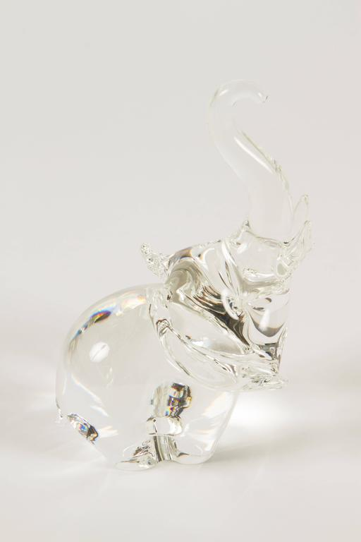 American Trumpeting Elephant by James Houston for Steuben Glass For Sale