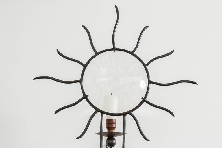 "French ""Soleil Edition"" Wrought Iron Sconces by André Dubreui For Sale"