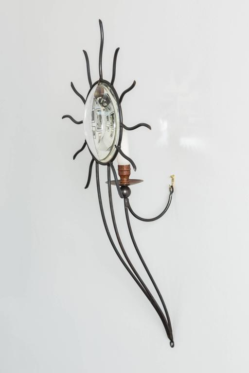 """Soleil Edition"" Wrought Iron Sconces by André Dubreui For Sale 1"