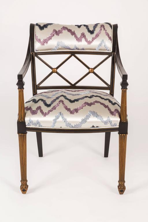 American Set of Six Regency Style Armchairs by Interior Crafts, Chicago For Sale