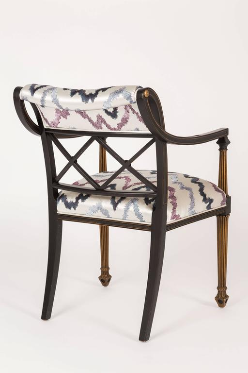 Painted Set of Six Regency Style Armchairs by Interior Crafts, Chicago For Sale