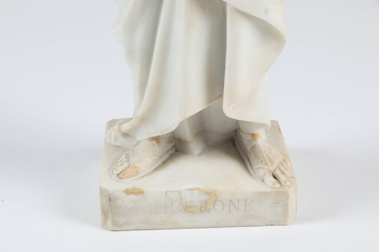 Classical Roman Marble Statue of a Robed Roman Figure For Sale