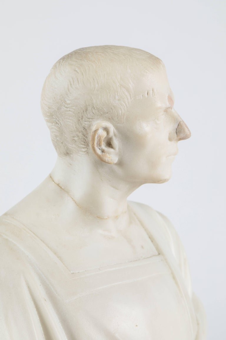 Italian Marble Statue of a Robed Roman Figure For Sale