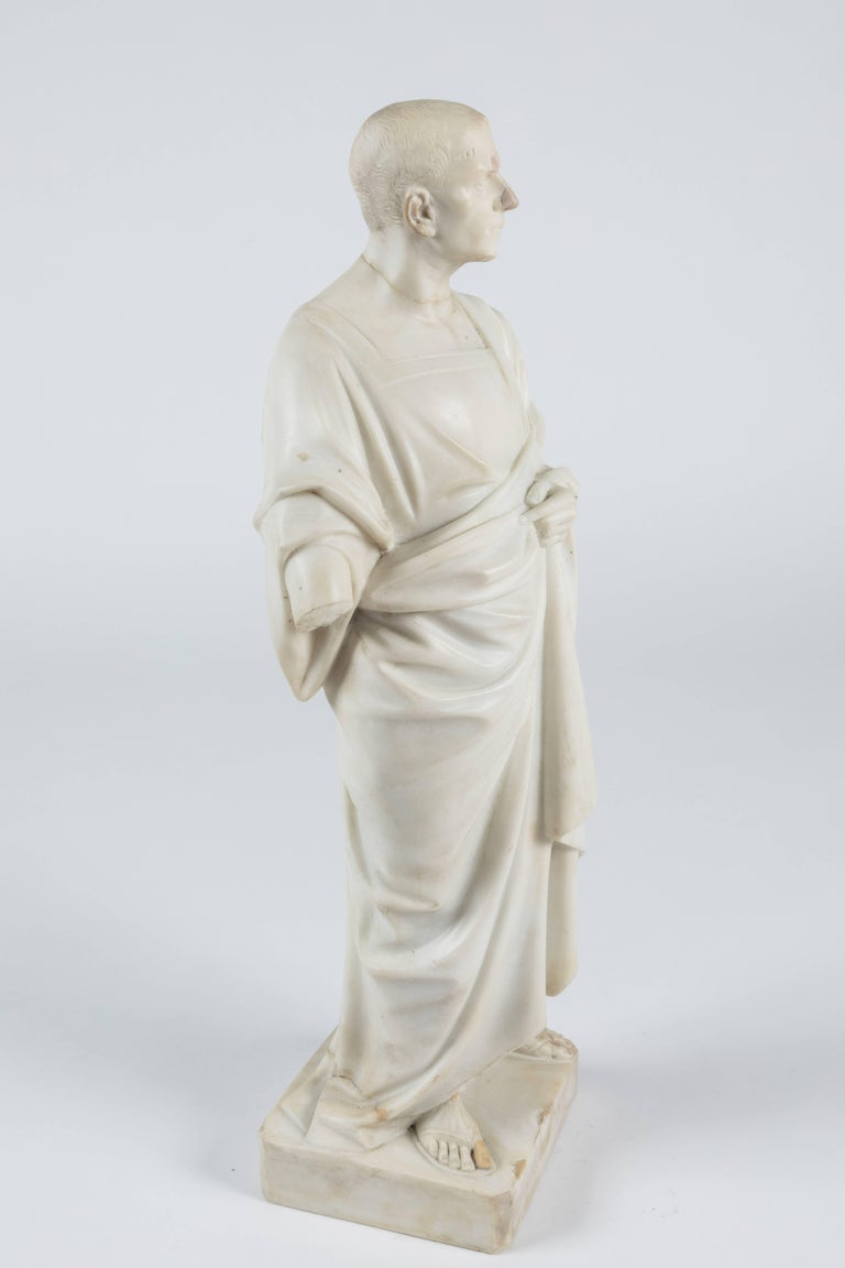 Hand-Carved Marble Statue of a Robed Roman Figure For Sale
