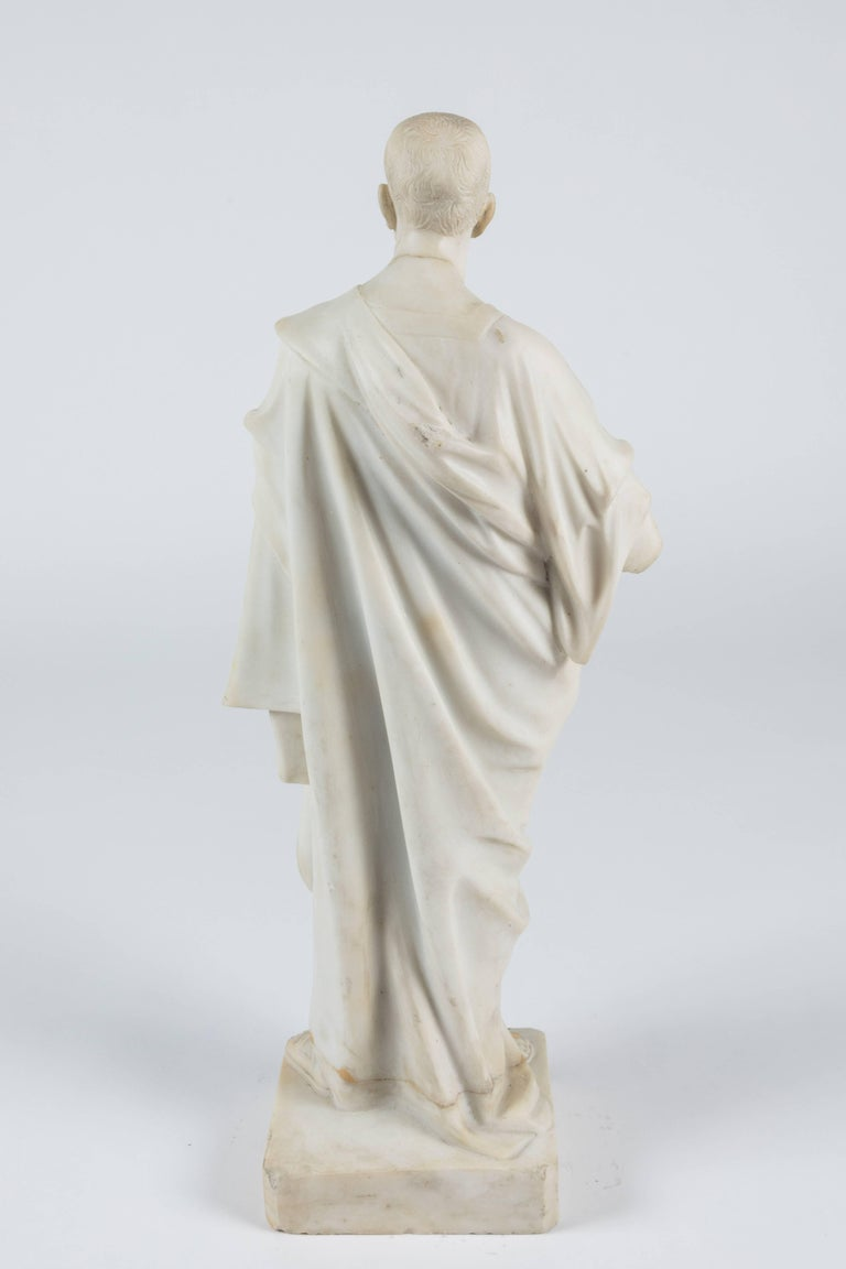 Marble Statue of a Robed Roman Figure In Distressed Condition For Sale In Los Angeles, CA